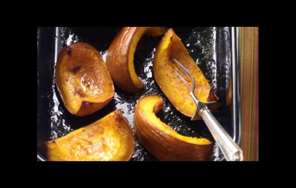 maple-roasted pumpkin wedges