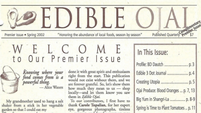15th Anniversary - Edible Ojai Premier Issue