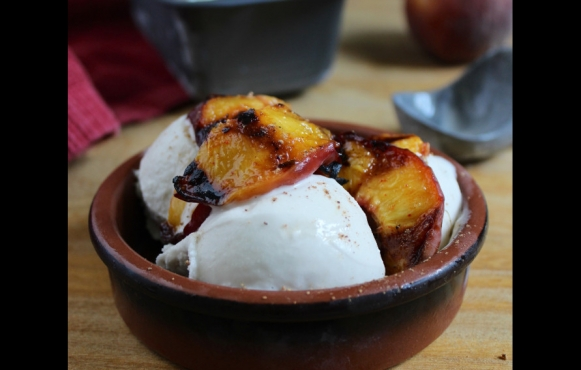 6-Ingredient Coconut Ice Cream with Spicy Grilled Peaches