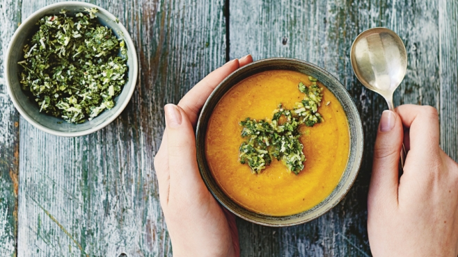 Carrot coconut and ginger soup with coriander