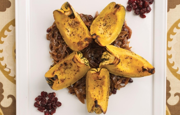 sweet dumpling squash with cider-shallot sauce recipe