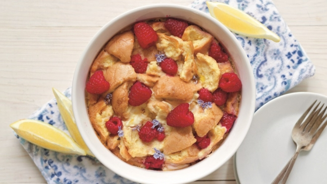 """Instant Pot Lemon-Raspberry Breakfast Strata, reprinted with permission from """"The Art of Great Cooking with Your Instant Pot"""" by Emily Sunwell-Vidaurri"""