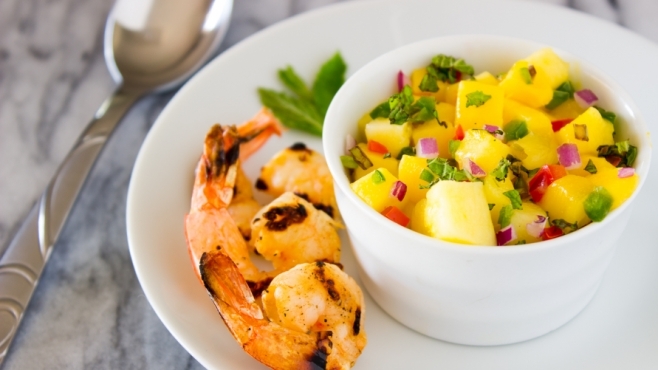 Mango Mint Salsa with Fiery Garlic Shrimp