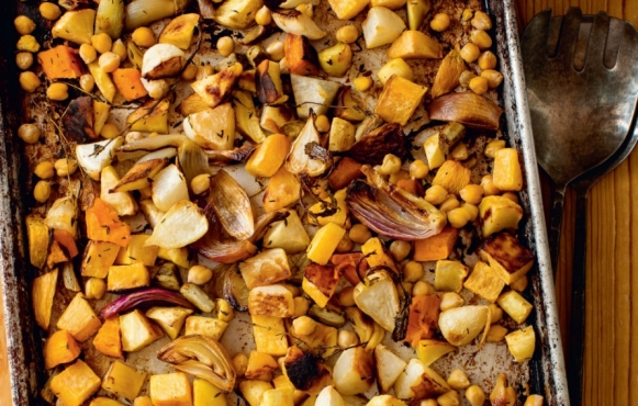 roasted roots with apple cider reduction recipe by Terry Walters