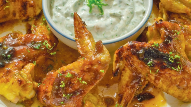 Baked Apricot Hot Wings with Creamy Cilantro Dip