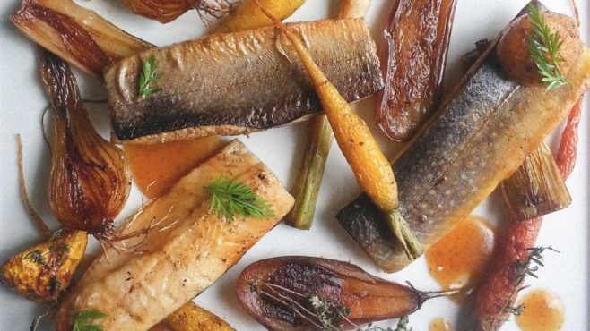 Warm-Smoked Vermont Trout With Heirloom Vegetables & Boiled Cider Brown Butter